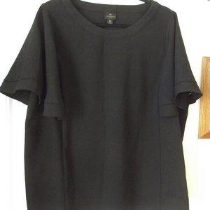 Worthington Woman Black Dress Blouse 1X